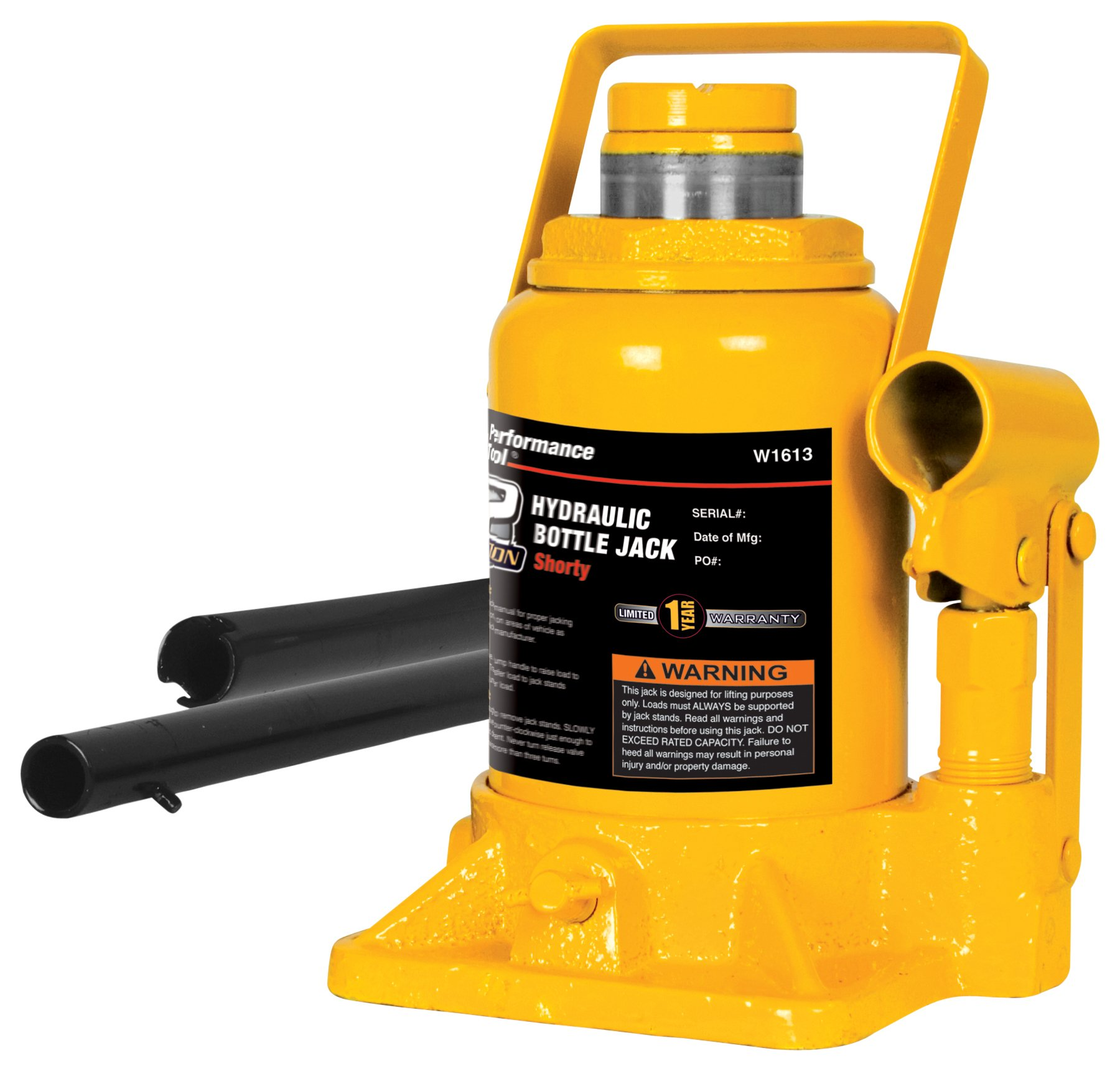 Performance Tool W1643 12 Ton (24,000 lbs.) Heavy Duty Shorty Bottle Jack