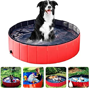 Achort PVC Pet Dog Pool Pet Dog Swimming Pool 48''x12'' Portable Foldable Pool Dogs Cats Bathing Tub Collapsible Non-Slip Puppy Bathing Tub Kid Ball Water Pond Kiddie Pool for Garden Bathroom Outdoor