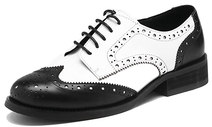 Saddle Shoes: Black & White Saddle Oxford Shoes U-lite Womens Perforated Lace-up Wingtip Leather Flat Oxfords Vintage Oxford Shoes Brogues $39.99 AT vintagedancer.com