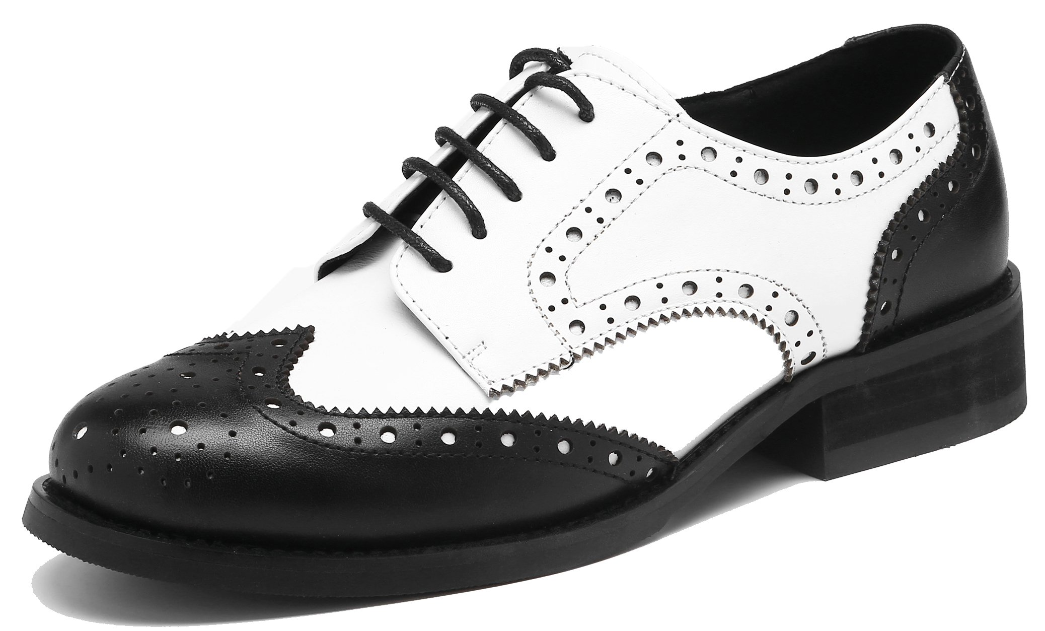 U-lite Women's Perforated Lace-up Wingtip Leather Flat Oxfords Vintage Oxford Shoes Brogues (6.5, Black White)