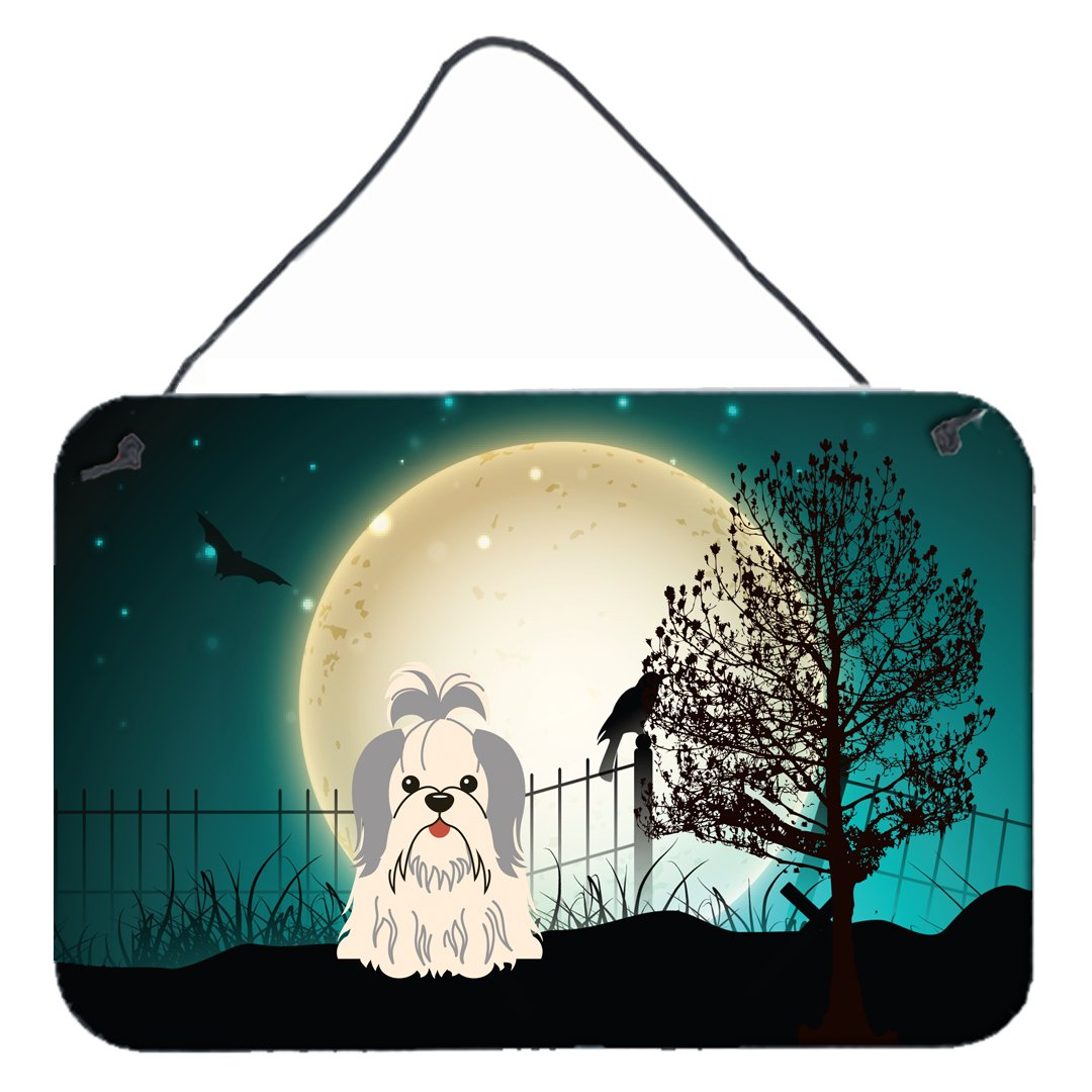 8 x 12, Carolines Treasures Halloween Scary Shih Tzu Silver White Wall or Door Hanging Prints BB2275DS812
