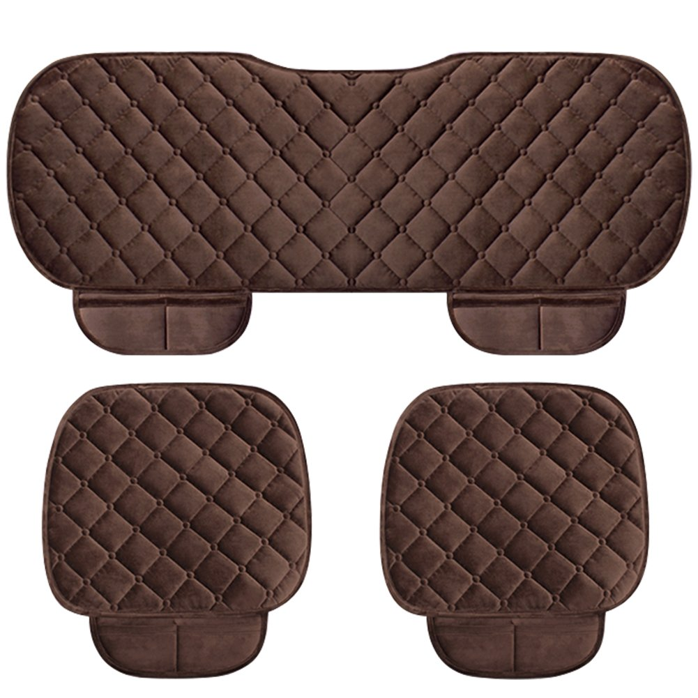 WINGOFFLY 3 Pack Thicken Front and Rear Car Seat Cushion Nonslip Car Interior Seat Cover Pad Mat Fit for Auto Vehicle Pink