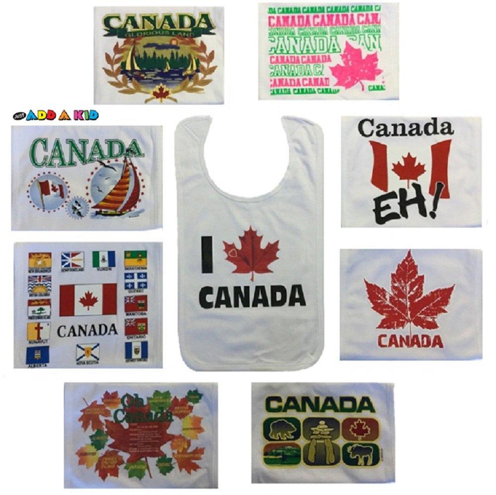 Baby Toddler Plain 100% Cotton Canada Themed Bibs (single pack) ZenexOnline