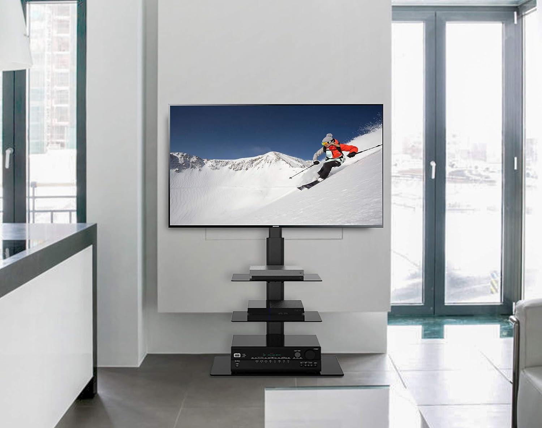 FITUEYES Meuble TV Pied avec Support Pivotant pour T/él/éviseur de 32 /à 55 Pouce Ecran LED LCD Plasma avec 2 Etag/ères Pivotant /à 70 Degr/és Gestion des c/âble Poids jusqu/à 30 kg Hauteur Ajustable