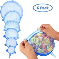 Silicone Stretch Lids 6 Packs Various Size Flexible and Durable Stretch Food Saving Covers Blue