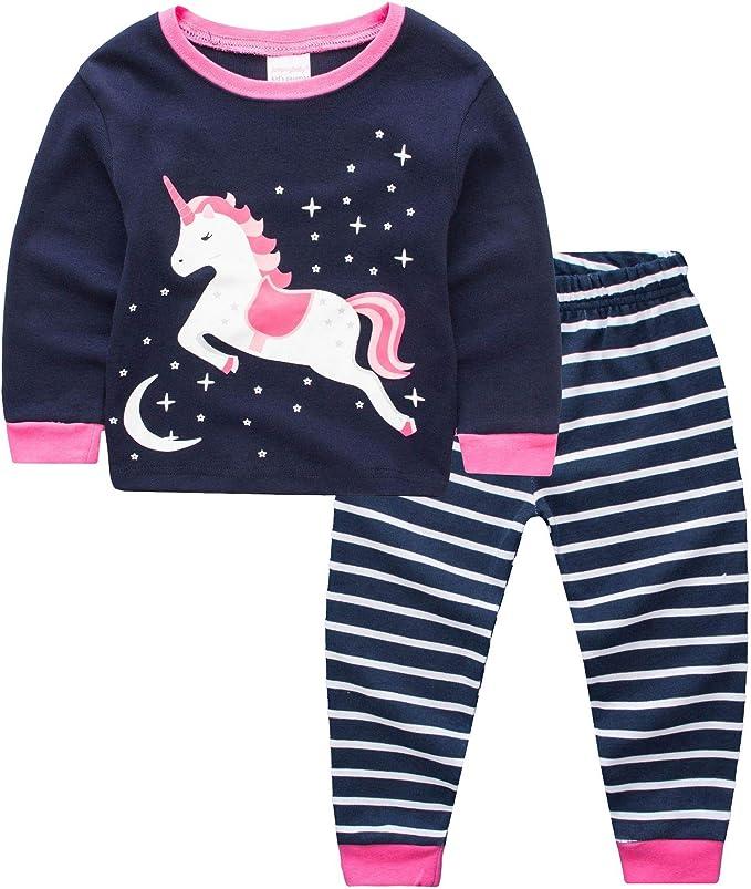 Pijamas para niñas Unicornio Animal Print 100% algodón 2 Pieza ...