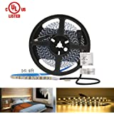 HitLights Warm White LED Light Strip, Premium High Density 3528-16.4 Feet, 600 LEDs, 3000K, 164 Lumens per Foot. UL-Listed. 12V DC Tape Light