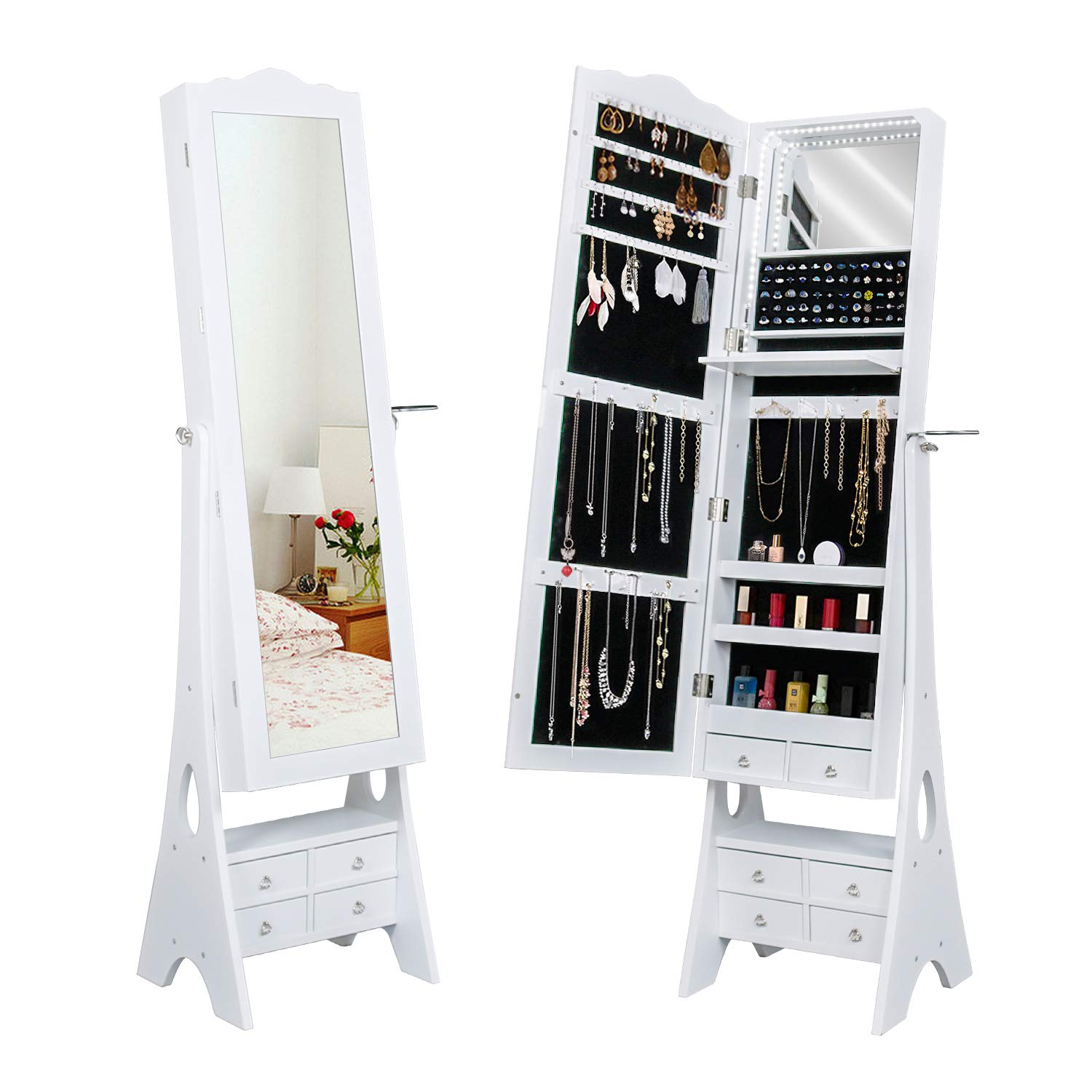 LED Mirrored Jewelry Cabinet Organizer, Full Length Standing Jewelry Storage Armoire with Makeup Tray&Large Capacity 6 Drawers &3 Adjustable Angle and Hair Dryer Storage (White)