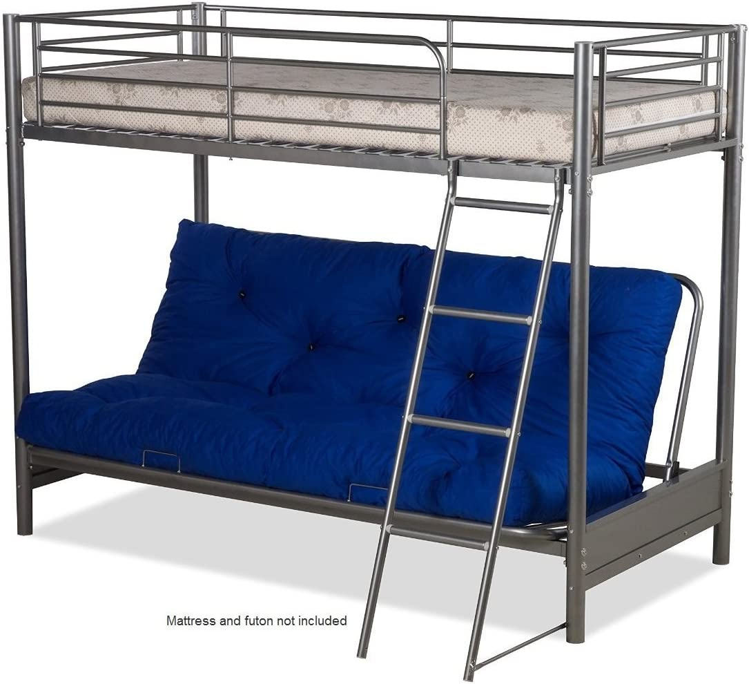 Futon Bunk Bed Frame Only In Silver Metal Finish Amazon Co Uk Kitchen Home