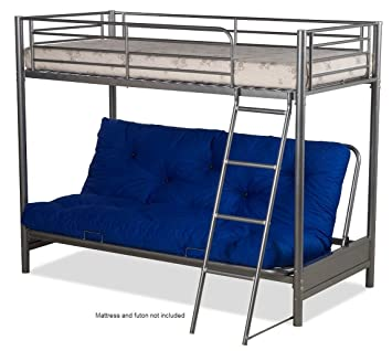 FUTON BUNK BED FRAME ONLY IN SILVER METAL FINISH