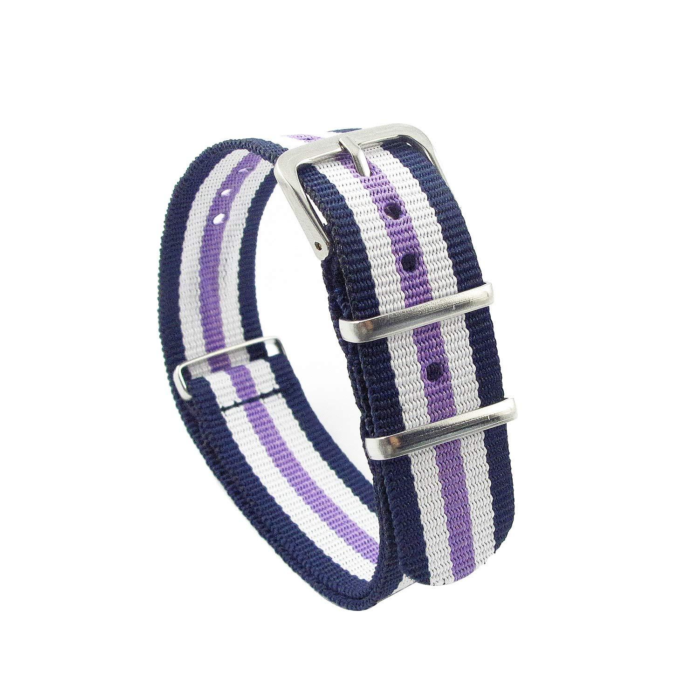 MapofBeauty 27cm Long 20mm Wide Sports Nylon Fabric Watch Bands Buckle Men Watch Strap (Blue+Purple)