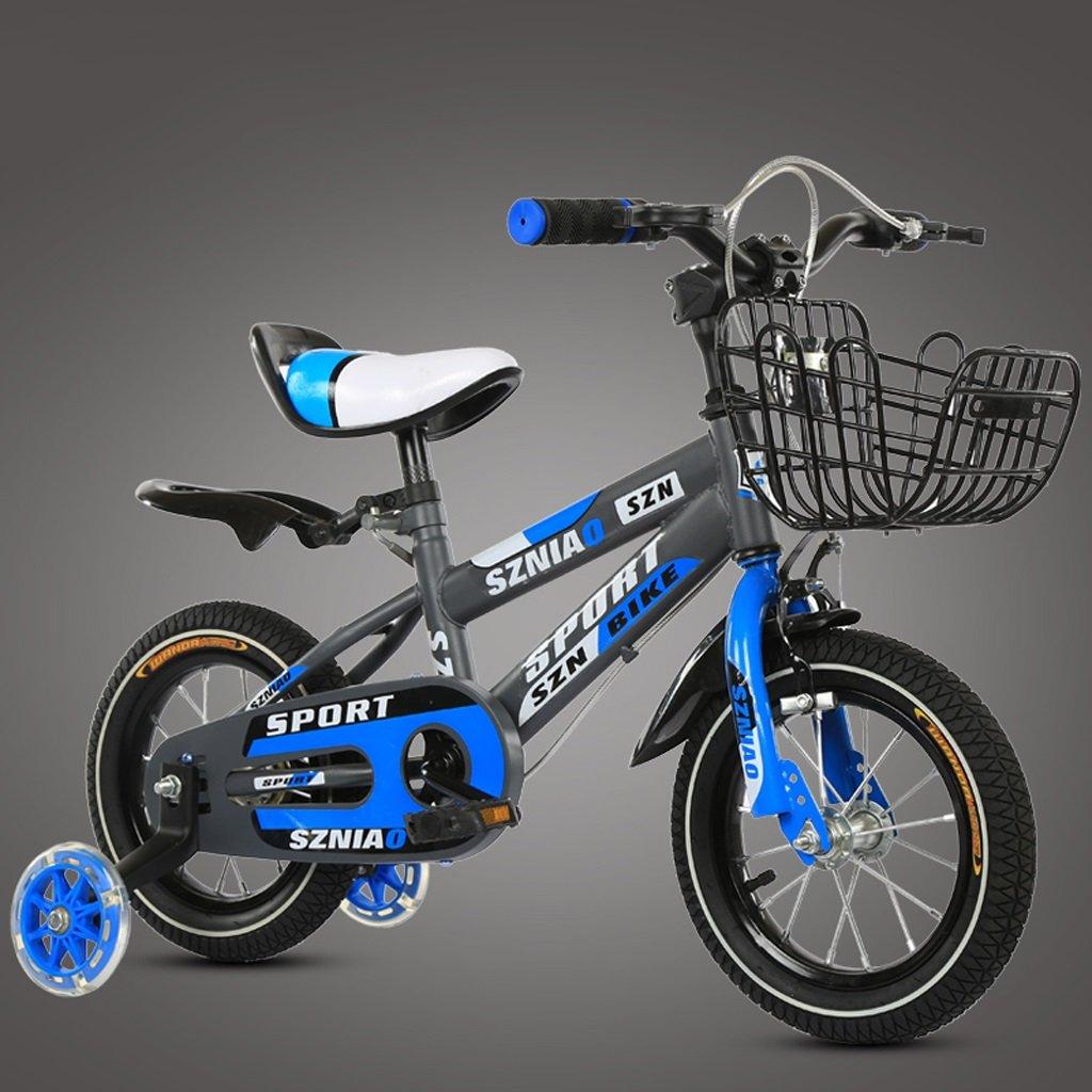 子供のマウンテンバイク14インチの子供の自転車3-5男性と女性のベビーストローカー高炭素鋼フレーム、青   B07D1JV33L