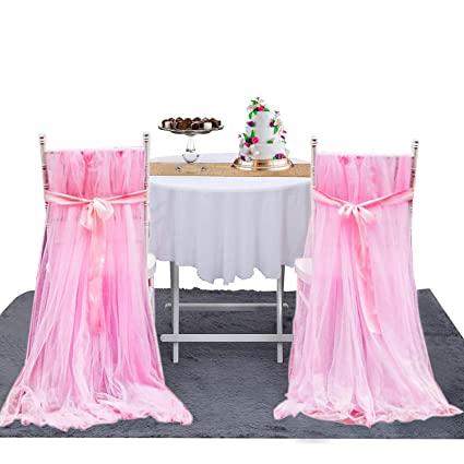 2pcs pink tulle chair skirts high tutu chair covers for wedding bridal shower birthday party