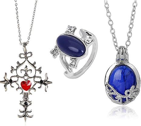 FURONGWANG 2 Packs Unisex Vampire Diaries Elena Sapphire Crystal Daylight Ring and Katherine Sapphire Crystal Pendant Daywalking Necklace