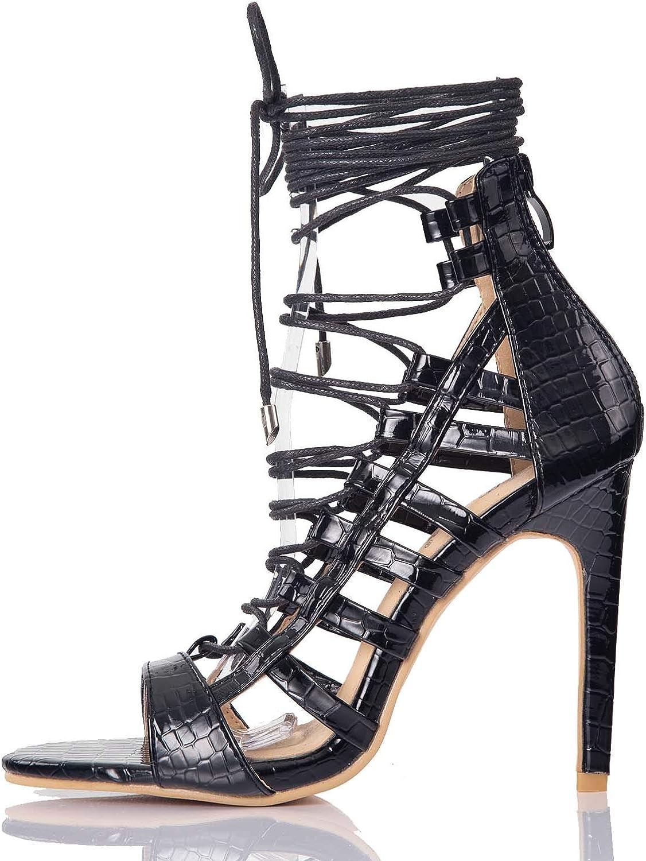Women/'s New Fashion Strappy Lace Up Denim Gladiator Sandal Comfort Shoes Sz 5-10