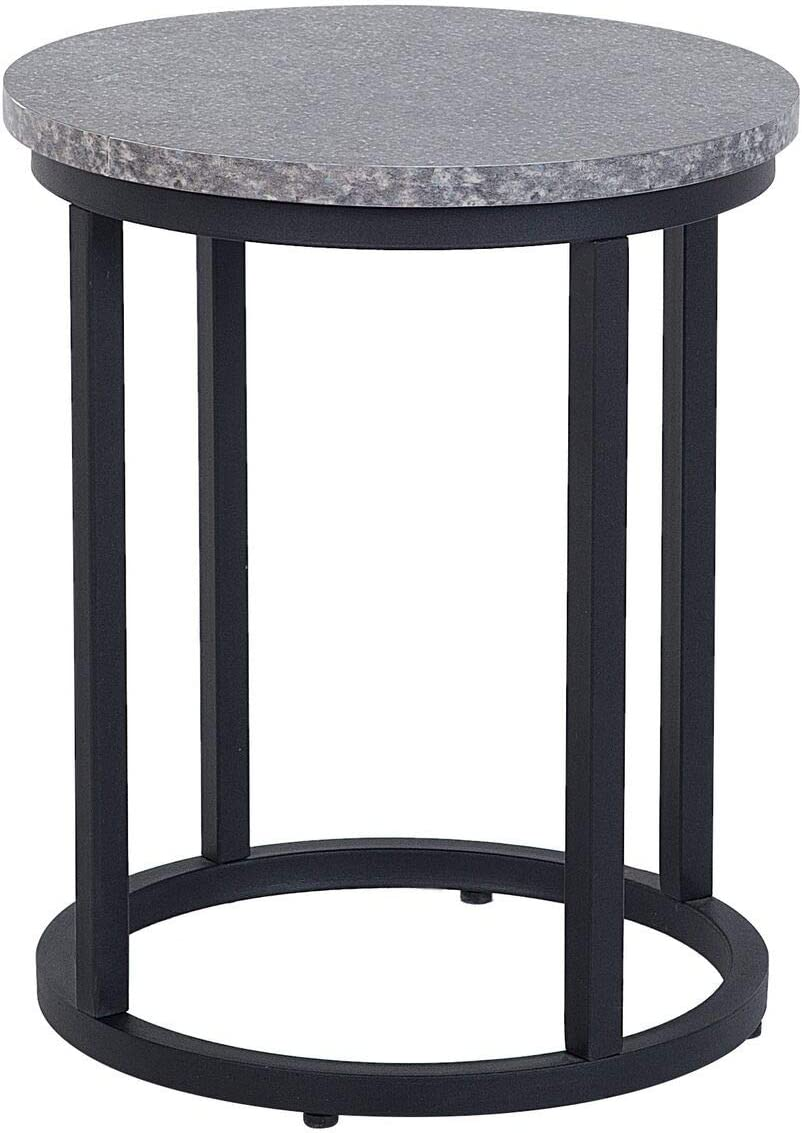 Beliani Industrial Modern Set of 2 Nesting End Tables Concrete Effect Metal Frame Dixie