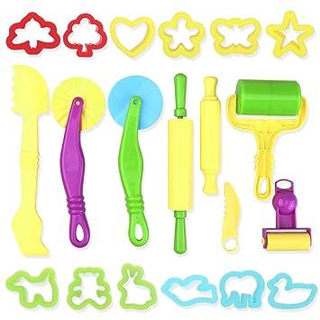 TOYMYTOY Herramientas de masa inteligente para niños Sett con modelos y moldes para niños pequeños 20 piezas (color aleatorio): Amazon.es: Juguetes y juegos