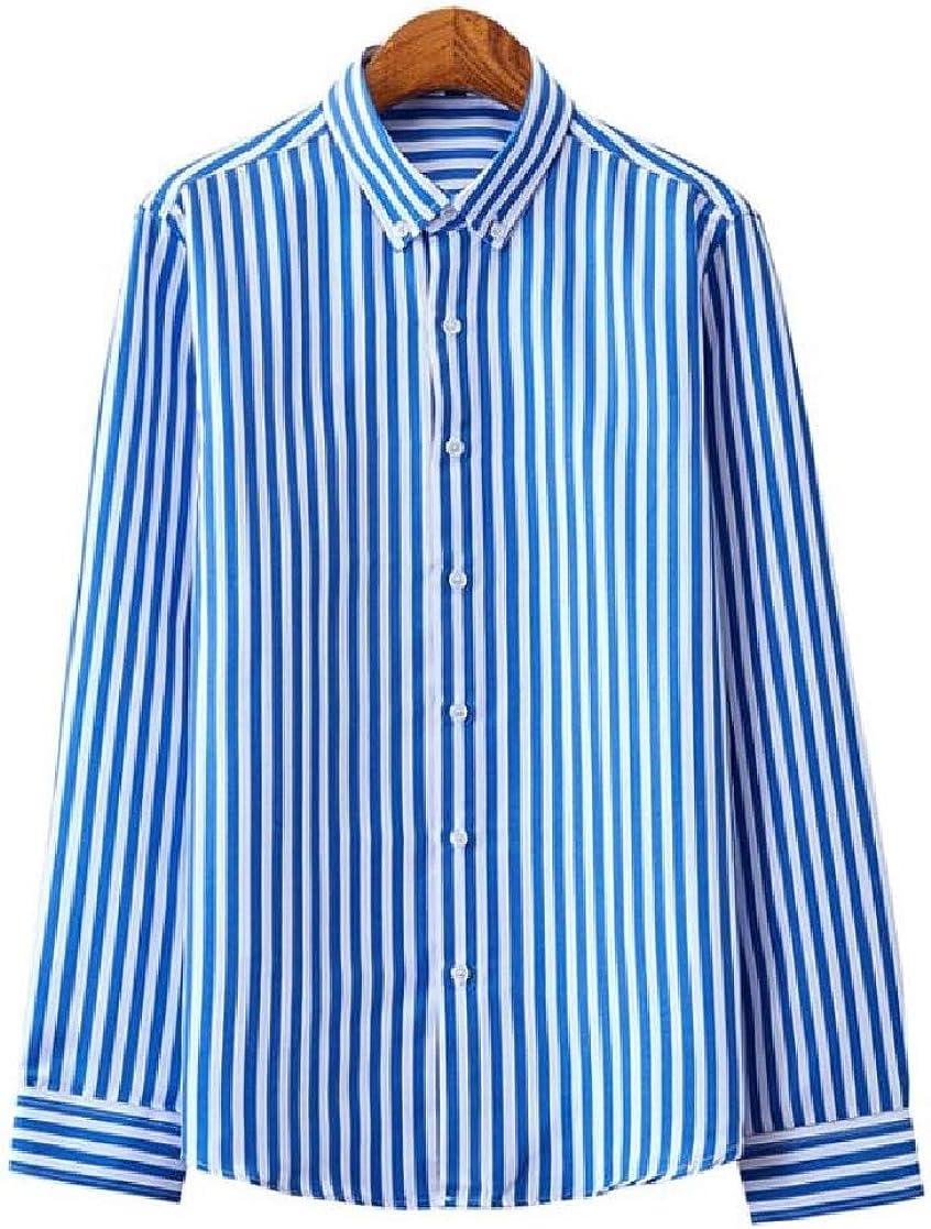 Macondoo Mens Formal Tops Long Sleeve Turn Down Stripe Button Front Shirts