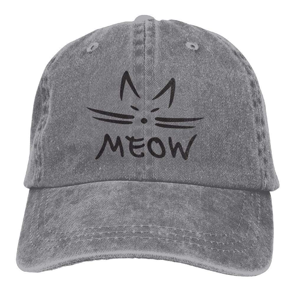 Cute Cat Face and Meow Letter Unisex Denim Baseball Cap Adjustable Hats