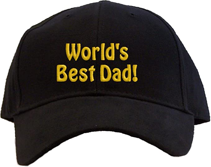 62b29bb7311 Amazon.com  World s Best Dad Embroidered Baseball Cap - Black  Clothing