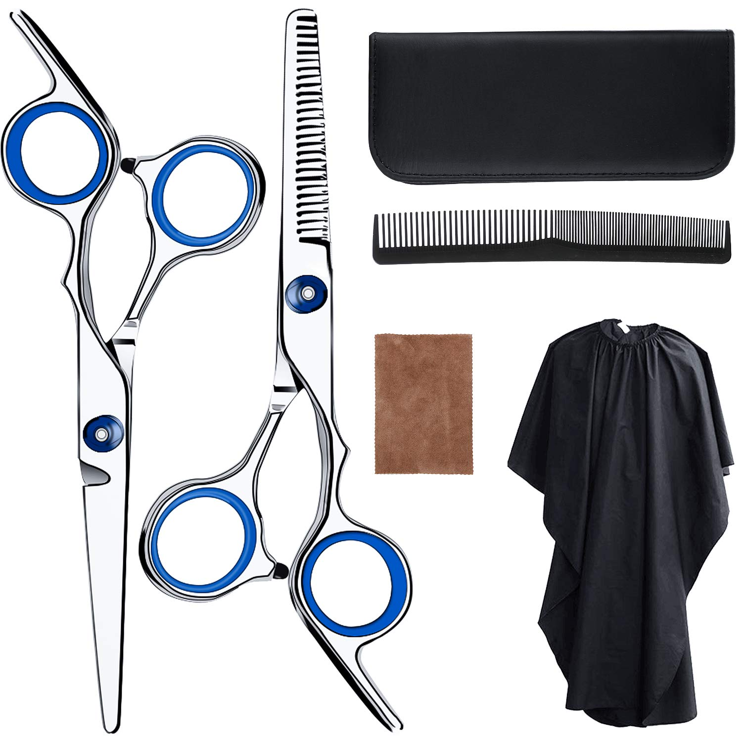 Hair Cutting Scissors Professional Barber Shears Thinning Scissors Super Sharp Stainless Steel Hairdressing Scissors Set with Cape Cleaning Cloth Comb for Barber Salon and Home Use by Yansu