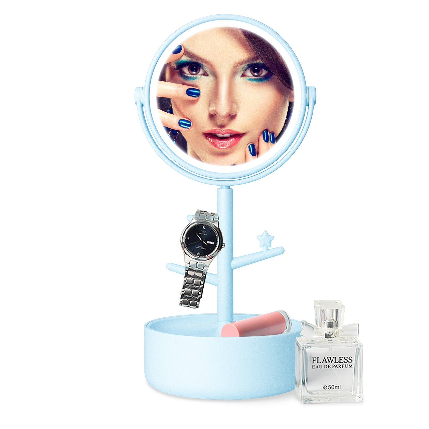 FAMLOVE LED Lighted Makeup Mirror/Circle Touch Screen Vanity Mirror, Bathroom Countertop Cosmetic Mirrors with Organizer, Batteries or USB Charging, 360° Free Rotation - Blue