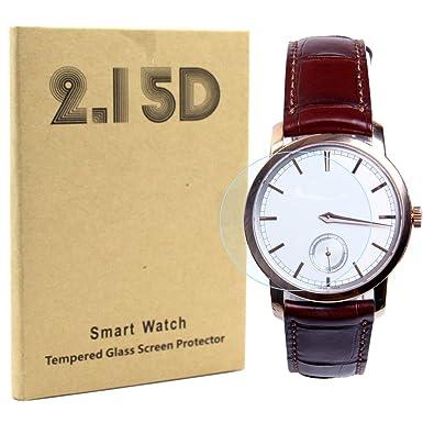 aggice común redondo reloj inteligente vidrio templado Protector de pantalla, alta definición 9H Dureza 0
