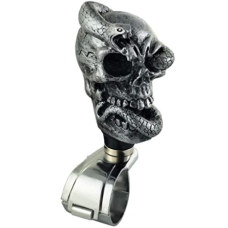 LUNSOM Car Handle Knob Auto Steering Wheel Spinner Control Cool Silver Skull Suicide Knobs Trucks Driving Power Handle Assist Universal Quick Release Silver