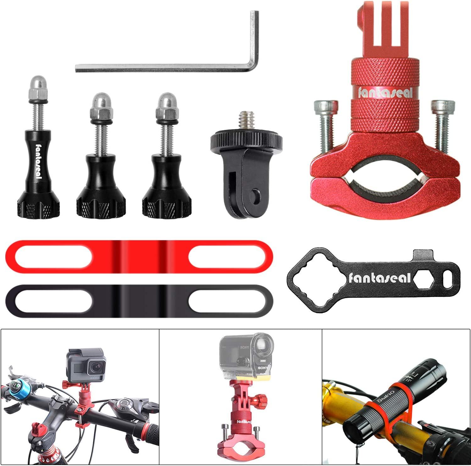8in1 Aluminum Alloy 360° Roatary Action Camera Bike Motorcycle Handlebar Clamp Mount Kit Motion Sports Camcorder BMX Bicycle Seatpost Pole Holder Compatible with GoPro Sony Akaso-Red