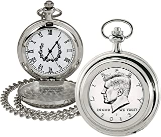 product image for Coin Pocket Watch with Quartz Movement | Proof JFK Half Dollar | Genuine U.S. Coin | Sweeping Second Hand, Roman Numerals | Silvertone Case | Certificate of Authenticity