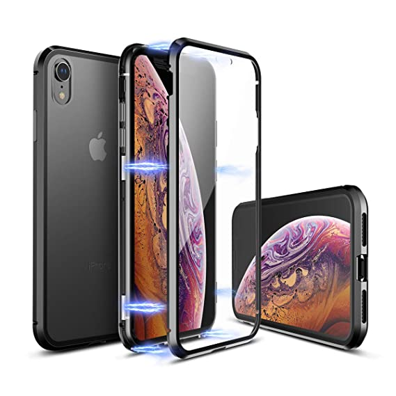 low priced 64696 79a63 Mangix iPhone XR Case,Ultra Thin Slim Magnet Protective Case Tempered  Glass[Support Wireless Charging] Updated Version[Included Front Glass  Cover] for ...