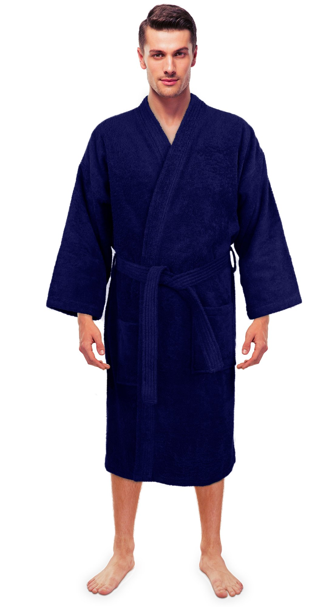 Turkuoise Men's Terry Cloth Robe 100% Premium Turkish Cotton Terry Kimono Collar