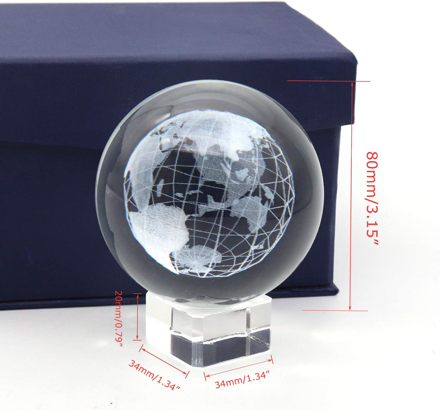Omitfu 3D Crystal Globe Earth Ball Laser Engraved Glass Paperweight Display Ball Sphere with Clear Stand 80MM Diameter for Award Decor