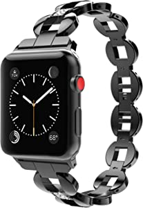 MoKo Band Compatible with Apple Watch 42mm 44mm Series 5/4/3/2/1, Premium Crystal Diamond Alloy Replacement Smart Watch Strap with Stainless Steel Clasp - Black (Not Fit iWatch 38mm 40mm)