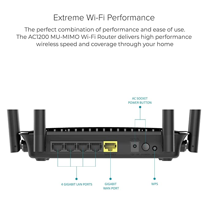 D-Link AC1200 Wifi Router – Smart Dual Band – Gigabit – MU-Mimo – High  Power Antennas for Wide Coverage – Easy Setup – Parental CONTROLS