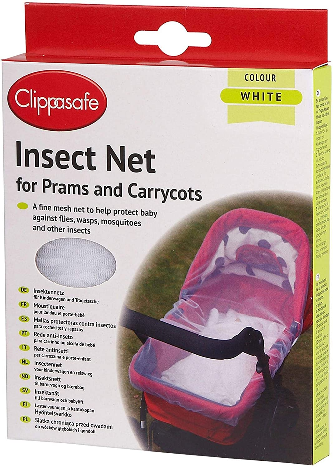 Amazon.com : Clippasafe Pram & Carrycot Insect Net - White ...