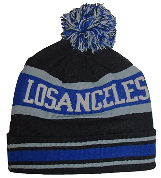 6b7b6319cbc Amazon.com  Los Angeles Striped Winter Knit Hat Pom Pom Beanie Hat with  Cuff (Black Royal Blue Grey)  Clothing