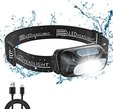 Cocoda Linterna Frontal, Frontal LED USB Recargables con 5 Modos de Luz, 200 Lúmenes, Impermeable IPX4 para Niños y Adultos, Ajustable Linterna Cabeza ...