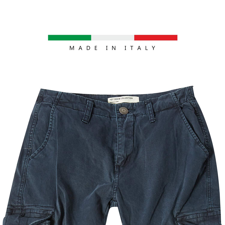 Pantalone Cargo Donna Moda con Tasche Laterali E Polsino sul Fondo Gamba