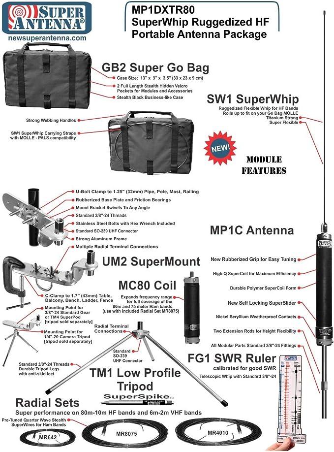 Super antena mp1dxtr80 HF superwhip trípode todos banda 80 m MP1 antena con la abrazadera del soporte y bolsa de Go Ham Radio amateur