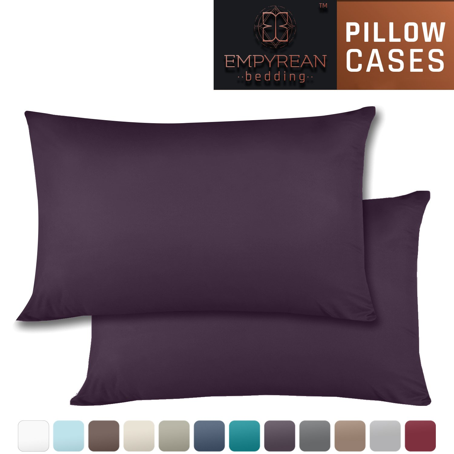 Set of 2 Premium Standard-Size Pillowcases - Superior-Quality Microfiber Linen, Hypoallergenic & Breathable Design, Soft & Comfortable Hotel Luxury - Purple Eggplant