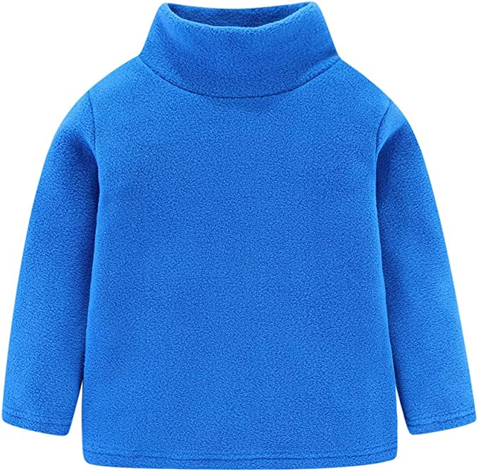 LittleSpring Kids Fleece Shirt Mock Neck Solid Thermal Undershirt