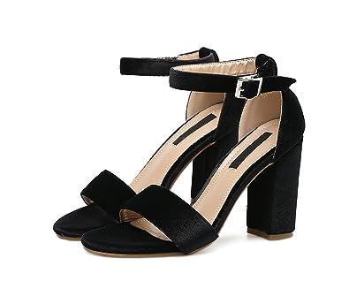   Velvet Ankle Strap Buckle Block Chunky High