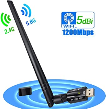 Ambolove AC1200 Dual Band 1200Mbps USB WiFi Adapter
