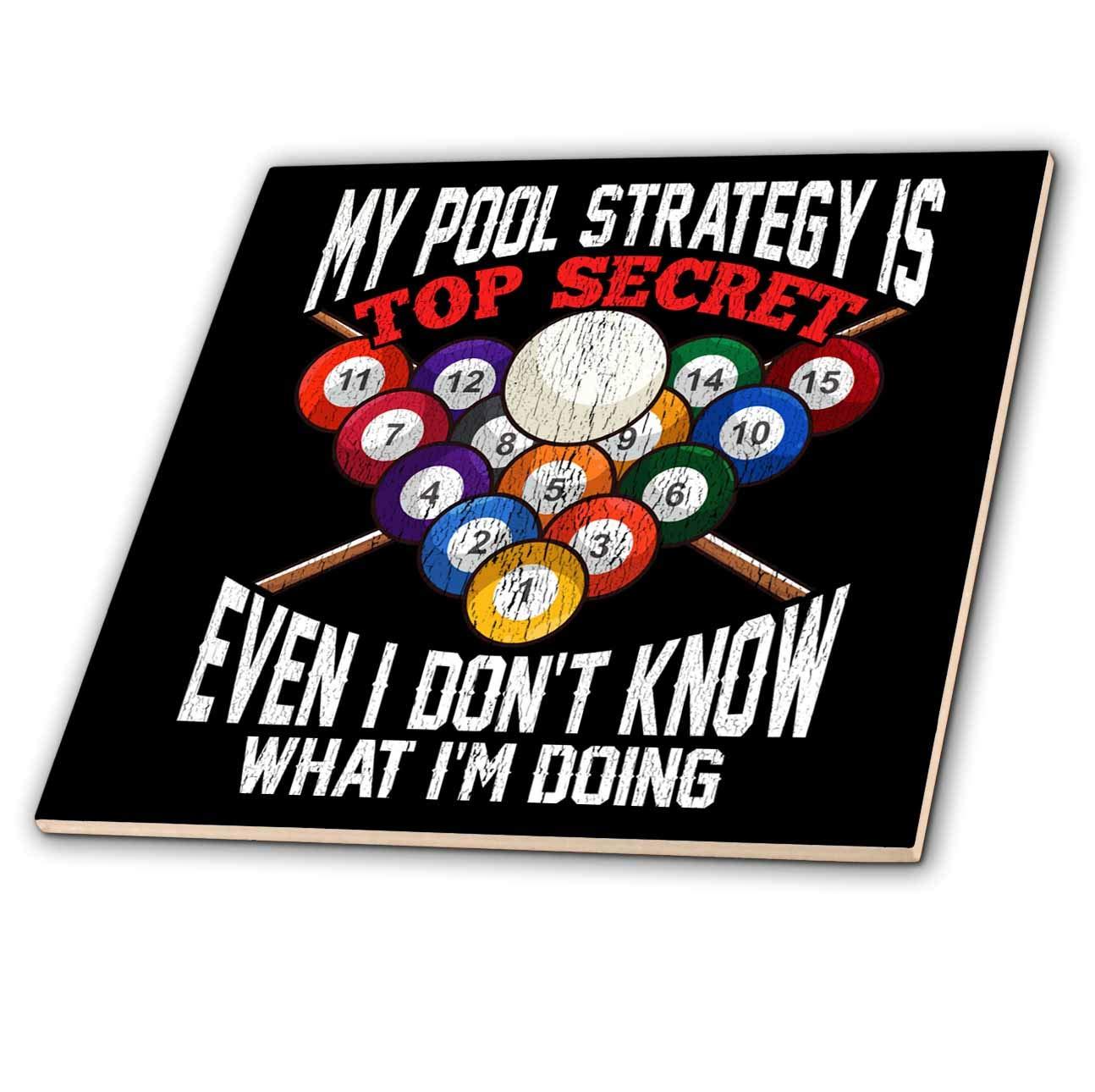 3dRose Sven Herkenrath Billiard - My Pool Strategy Top Secret Even I Dont Know What aim Doing Billiard - 8 Inch Ceramic Tile (ct_319022_3)