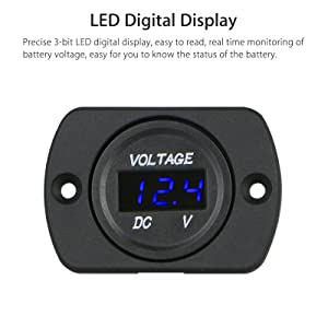 Linkstyle DC 12V 24V Car Voltmeter with LED Digital Display Panel, Waterproof Voltage Gauge Meter with Terminals for Boat Marine Vehicle Motorcycle Truck ATV UTV Car with Blue Light (Color: Blue with panel)