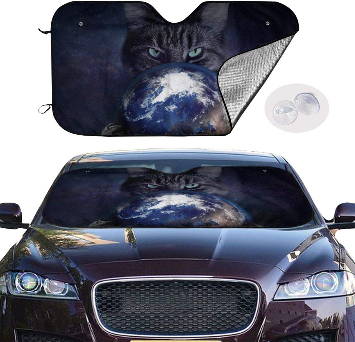 Opiadco Sternenraum Katze Auto Windschutzscheibe Sonnenschutz Lustige Neuheit M.