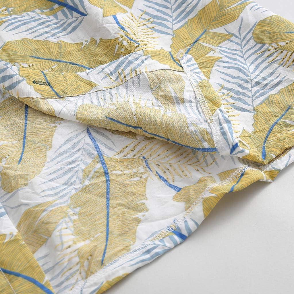 MIS1950s Autumn Mens Shirts Casual Print Loose Comfy Long Sleeve Beach Stand Collar Top Shirt