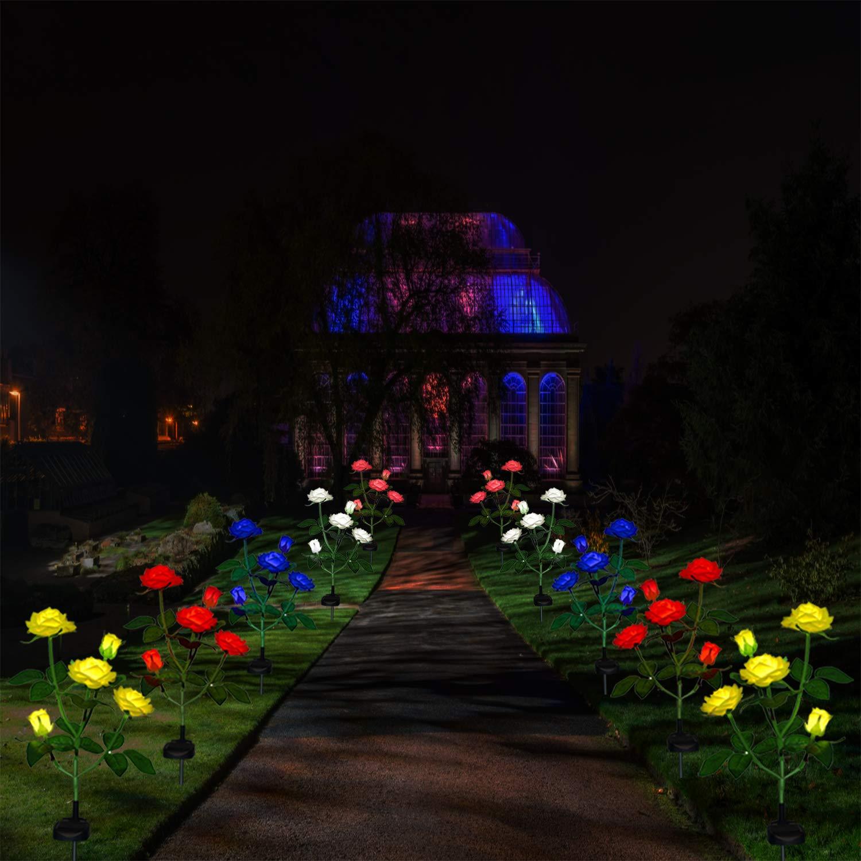 Neu Beleuchtung Au/ßen Solarleuchte Garten Solar Garten Lampen mit LED Rose Lichter siehst aus wie rot Dekoration Lichter f/ür den Garten Rasen Terrasse Feld Weg,Orange