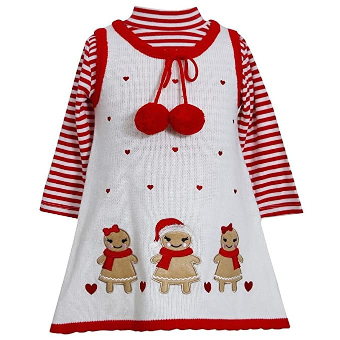 Kids 1950s Clothing & Costumes: Girls, Boys, Toddlers Bonnie Jean Baby-girls Gingerbread Holiday Jumper Dress Set $34.98 AT vintagedancer.com